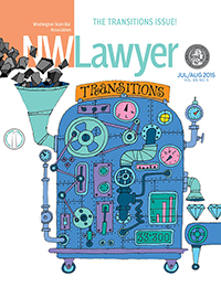 Cover of the July/August double issue of NWLawyer, depicting an illustration of a machine that turns coal into diamonds.