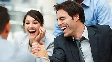 Happy lawyers having fun at work.