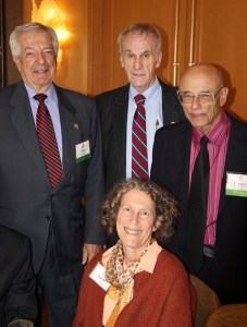 Senior Law Section members (L-R): 50-year member John Bergmann, 50-year member Frederick Frederickson, Senior Lawyers Section Chair Carole Grayson, and 50-year member Thomas Wampold.