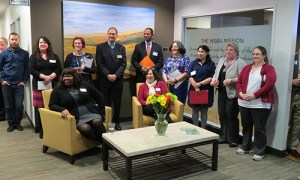 Staff and guests in our new reception area.