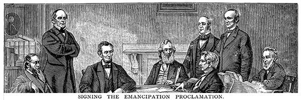 Etching of Lincoln and cabinet at signing of the Emancipation Proclamation
