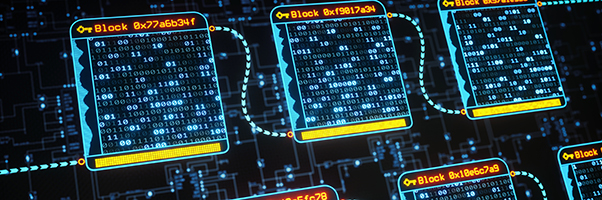 An abstract digital interface showing the concept of blockchain technology with binary hash data inside each block.