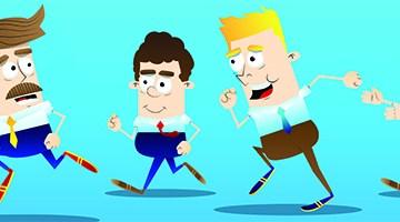 Cartoon of men playing tag