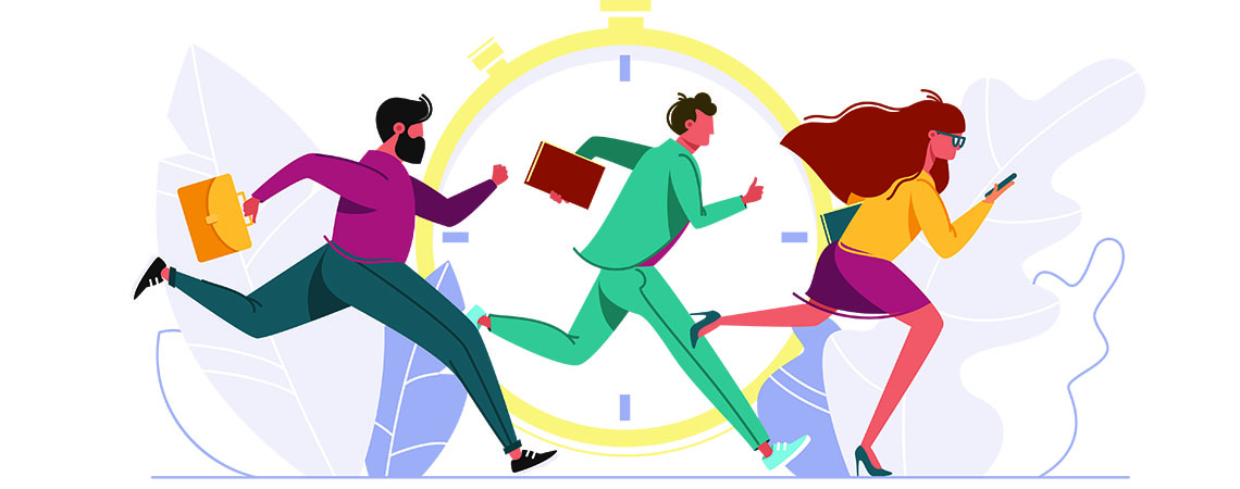 Illustration of stressful lawyers on the run