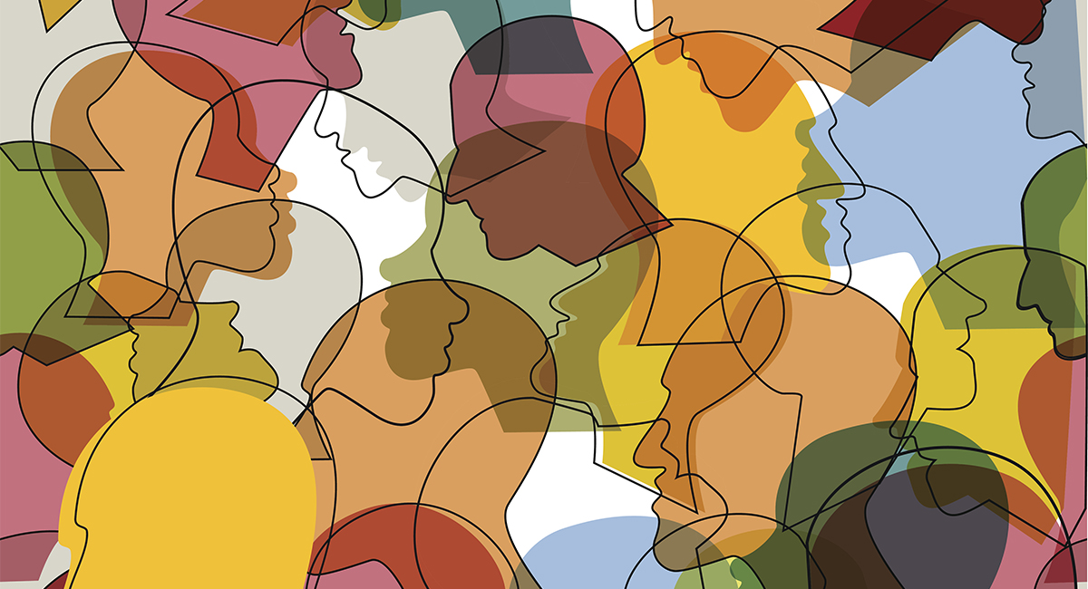 Diversity graphic: Crowd of many different people profile heads.