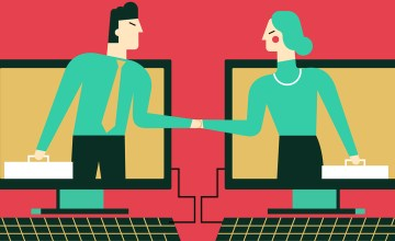 Illustration of male and female attorneys shaking hands from computer monitors