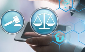 Digital law and justice graphic with document, gavel, and scale icons