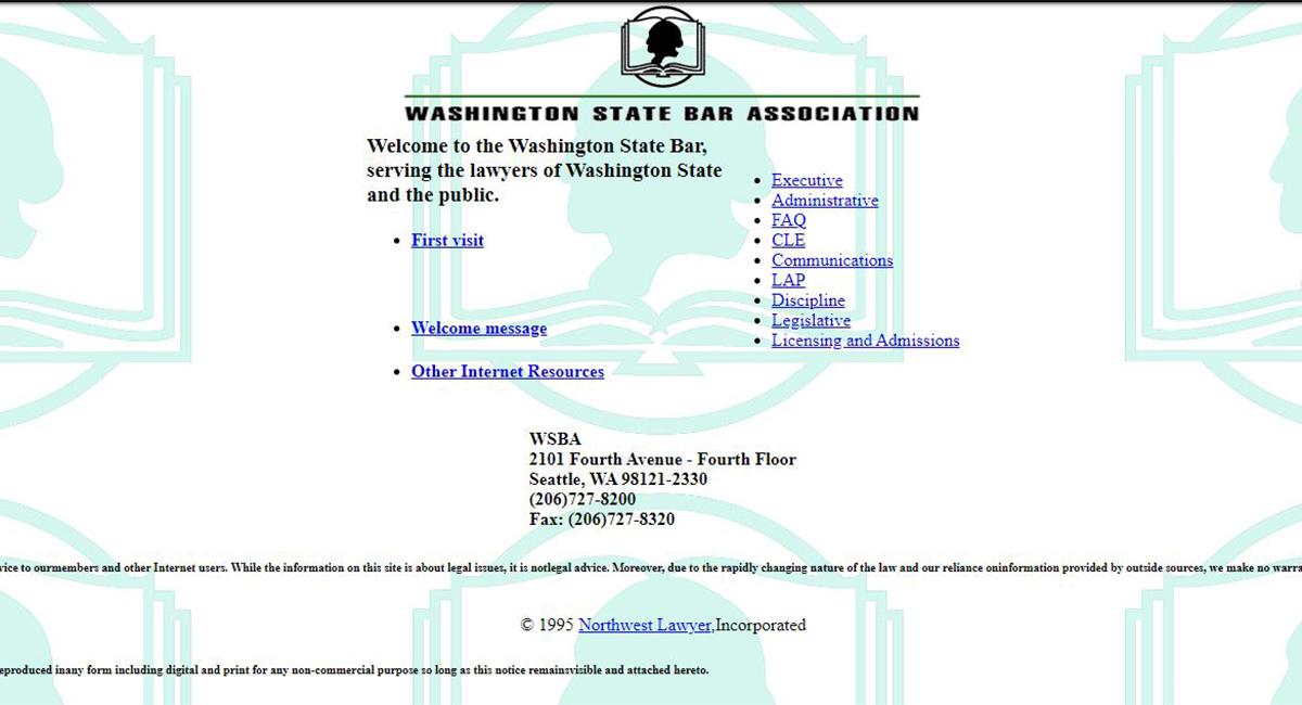 Screen shot from WSBA's first website