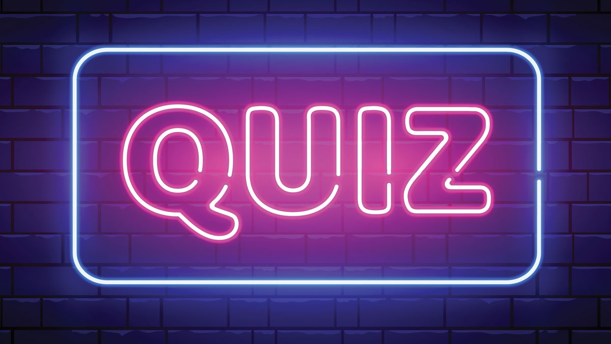 Image of a neon size that says quiz in all capital letters