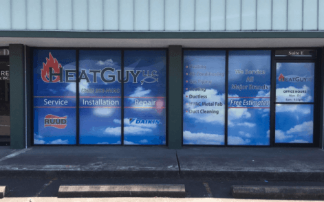 business window graphics and commercial wallcovering for Heat Guy LLC
