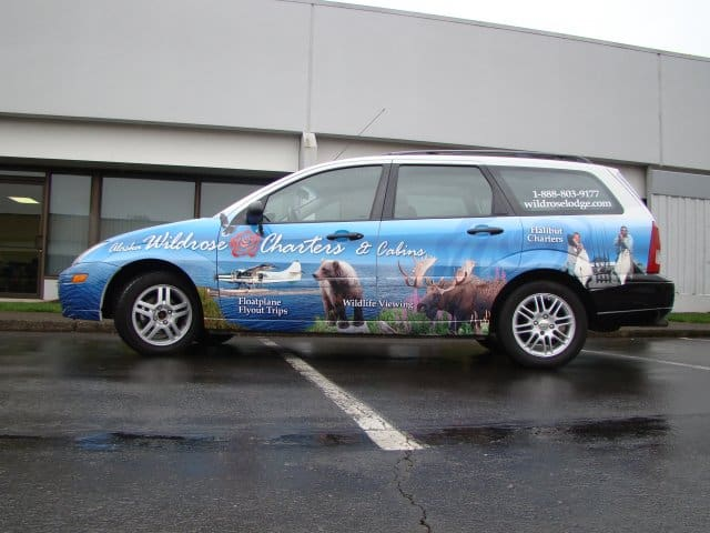 Wildrose Charters Alaska Car Wrap Advertise