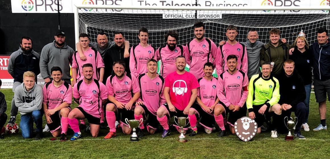 Sunday League side FC Mally celebrate a remarkable triple quadruple
