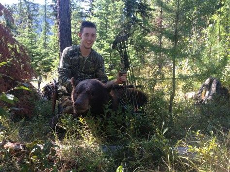 Sean Hansen of Camas, Wash., made the most of his summer working for the Forest Service in Northeast Washington, using his time off to scout public land. He arrowed and one-shot killed this 6-foot-4 bear from 40 yards after an exciting stalk. (SEAN HANSEN)