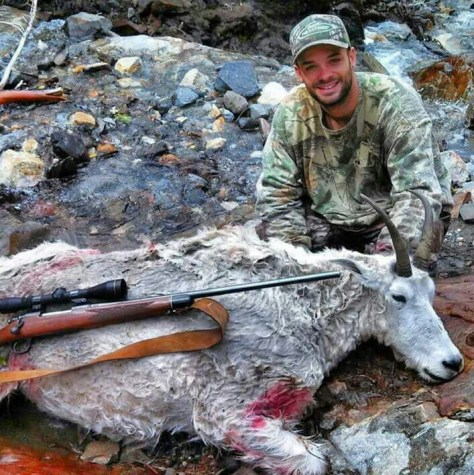 The 13th time he put in was the lucky one for Barrett Prock, who made good on his once-in-a-lifetime East Hurricane mountain goat tag in the Eagle Cap Wilderness. Hunting with his dad and friends, and packed in 8 miles by outfitter Mark Moncrief, Prock made a 300-yard heart shot to harvest this billy, which sported 10-inch horns. Proud friend Carl Lewallen sent the pic. (BROWNING PHOTO CONTEST)