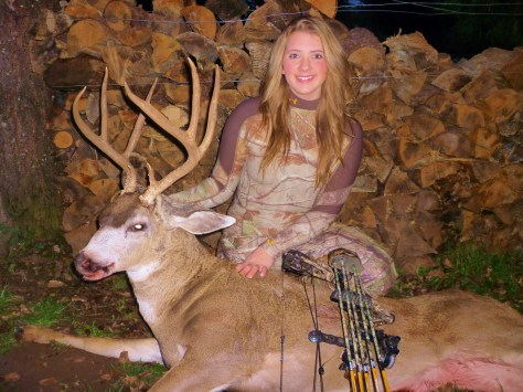 "Brenna Blankenship continues to shine with her bow. A champion archer, the upper Rogue River valley lass added to an already impressive resume when she bagged this 4x5 blacktail very, very late in 2014's season. ""She drew her bow and gave a little grunt,"" her father, Alan, says of Brenna's cold, Dec.30 afternoon hunt. ""The buck stopped but immediately started to spin around. She released, hitting behind the shoulder. It was the first time she missed the heart, but did catch the lung and liver. I then got that wonderful text, 'BBD.' She waited till 5:20, now dark and very cold, to follow the blood trail. She followed about 100 yards. I convinced her to back out since she was by herself, it was dark and we shouldn't push the deer, She agreed. The next day we went back and with a little hands-and-knee  blood trailing we found him, about another 100 yards. A great end to her final youth hunt."""