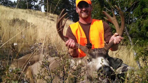 """His email might alude to being a track star, but shooting star might also be appropriate. After his brother-in-law spooked this buck out of the woods, Chad Smith had only """"a matter of seconds"""" to make a 100-yard shot, dropping the nontypical 6x6 counting eyeguards, dead as a doornail. They were hunting in Okanogan County."""