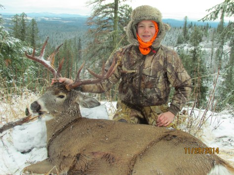 "During 2013's season, Trask Applegate had a heckuva year, bagging bucks in his home state of Oregon and over in Idaho, But last fall, with his grandfather Larry announcing it would be his final deer hunt, the youth's goal was to put the family patriarch into a big one. On the sixth and final morning of their hunt near Dworshak Reservoir, this wide-hatted whitetail came through the timber, and with a 368-yard heart shot, Trask had given Larry a ""walk off buck."""