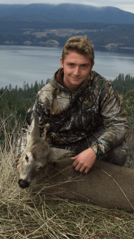 Hunting with his uncle Gary Hoch, Brycen Reeves, 17, of Port Orchard, Wash., harvested his first deer this past November while bowhunting in the state's upper righthand corner. (BROWNING PHOTO CONTEST)