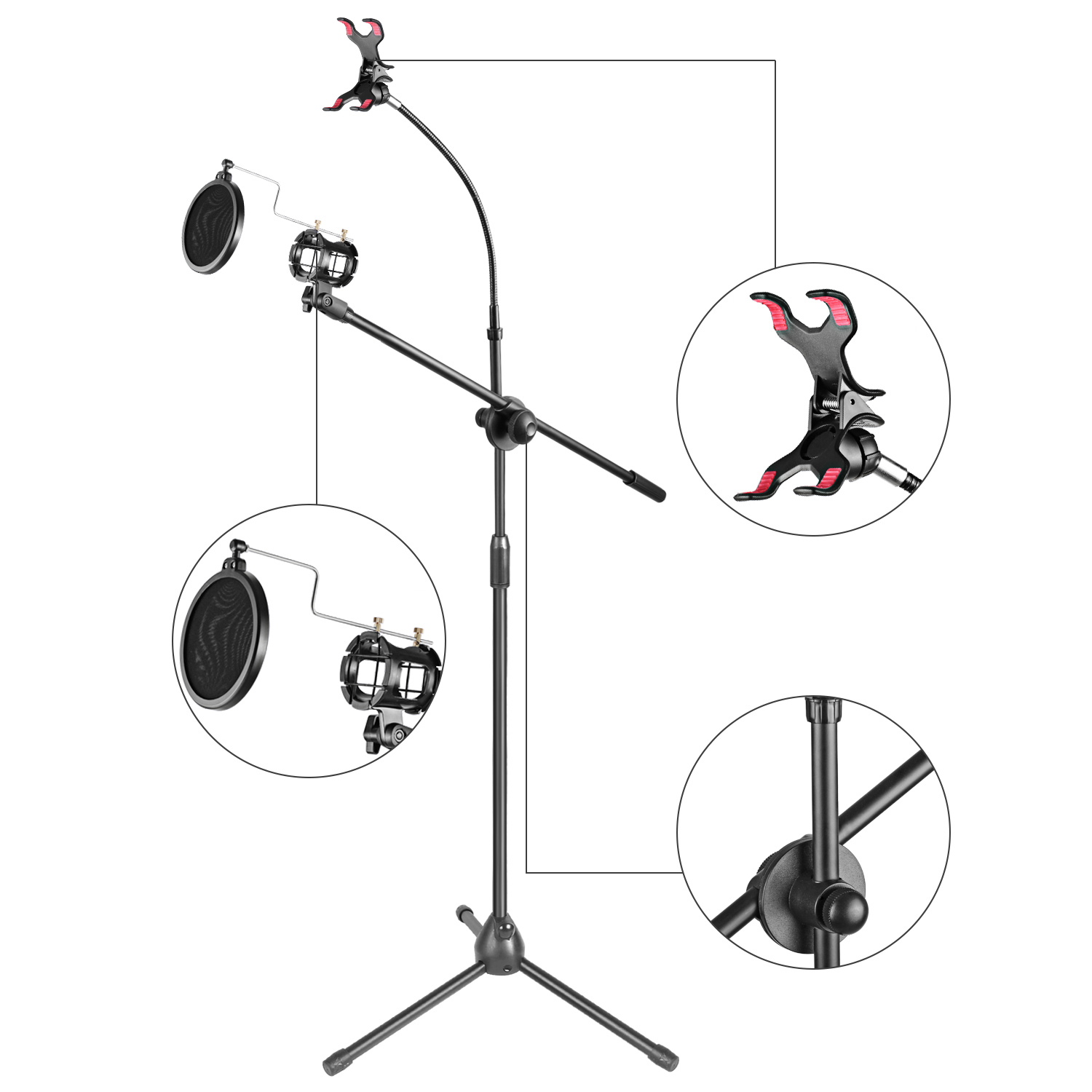 Neewer 30 50 Metal Microphone Stand With Boom Arm 360