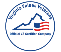 """Image of a blue seal with an outline of the state of Virginia and an American flag graphic. Text on the reads: """"Virginia Values Veterans. Official V3 Certified Company."""""""