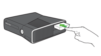 A hand inserting a hard drive into the hard drive slot on an Xbox 360 S console