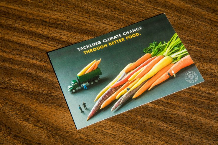 Photograph of a promo card for Zero carbon food