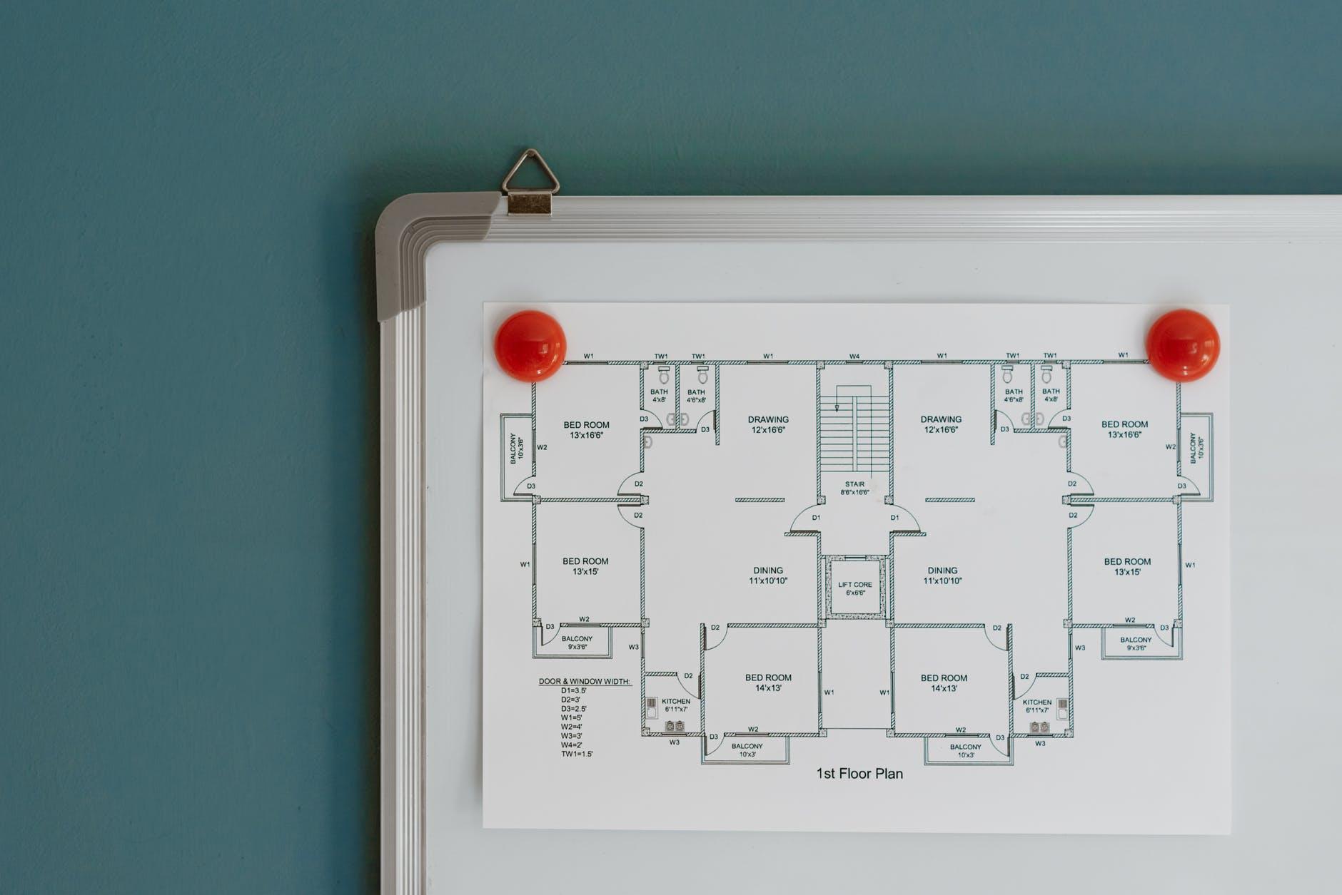 floor plan hanging on whiteboard