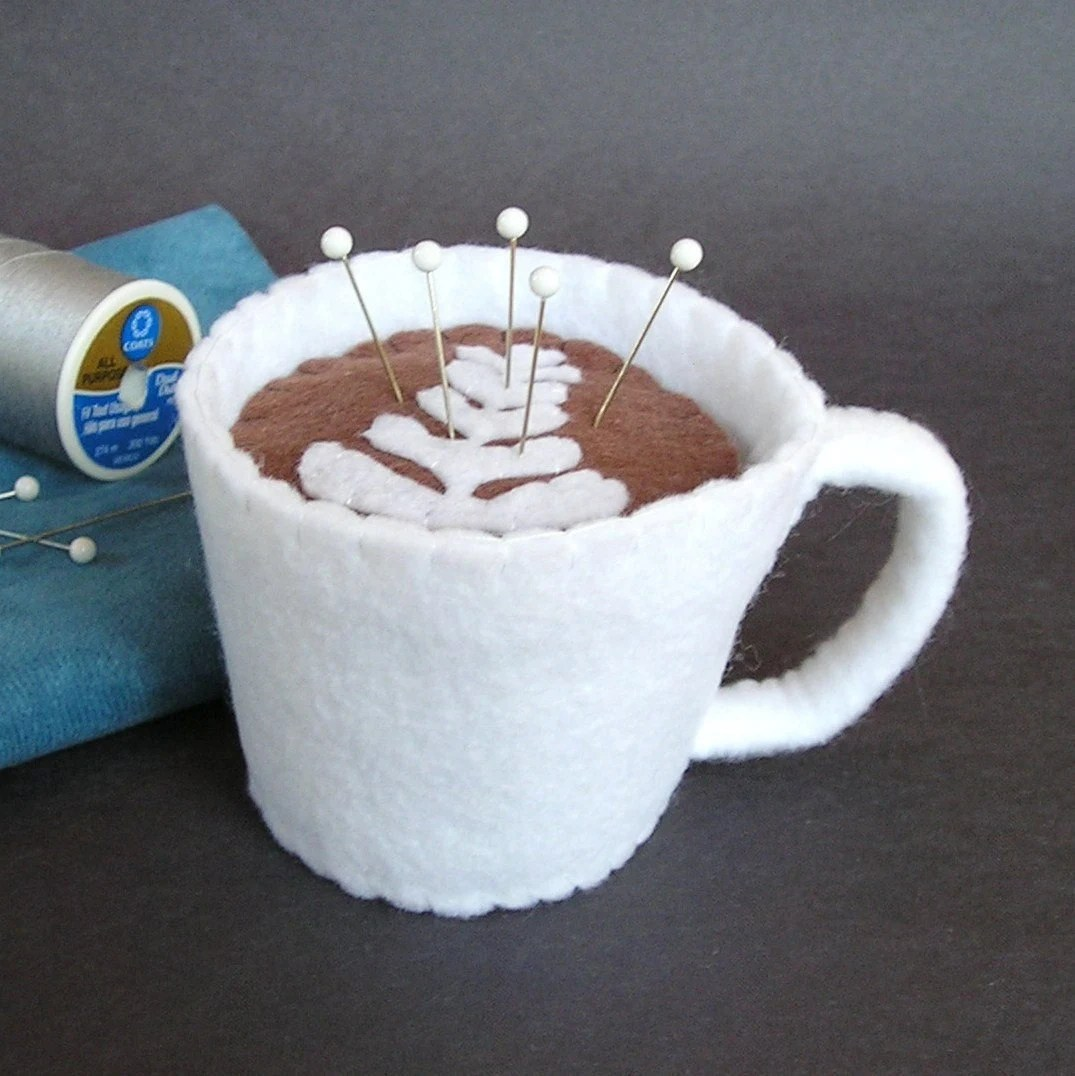 Emery Pincushion Cup of Cafe latte by dottyral