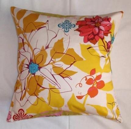 Throw Pillow 16X16 Removable cover sewn with Anna Maria Horner's Sketchbook in Ivory