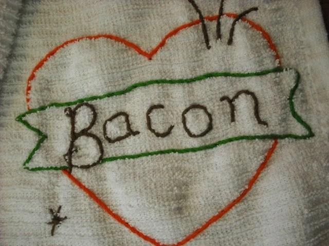love bacon kitchen towel