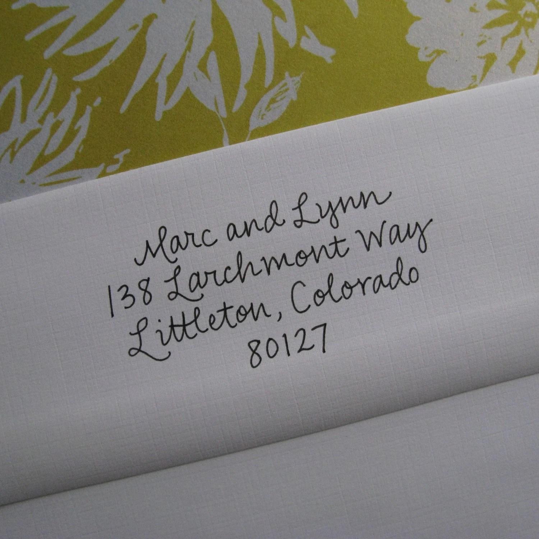 Wedding Script Address Stamp (Red Rubber)