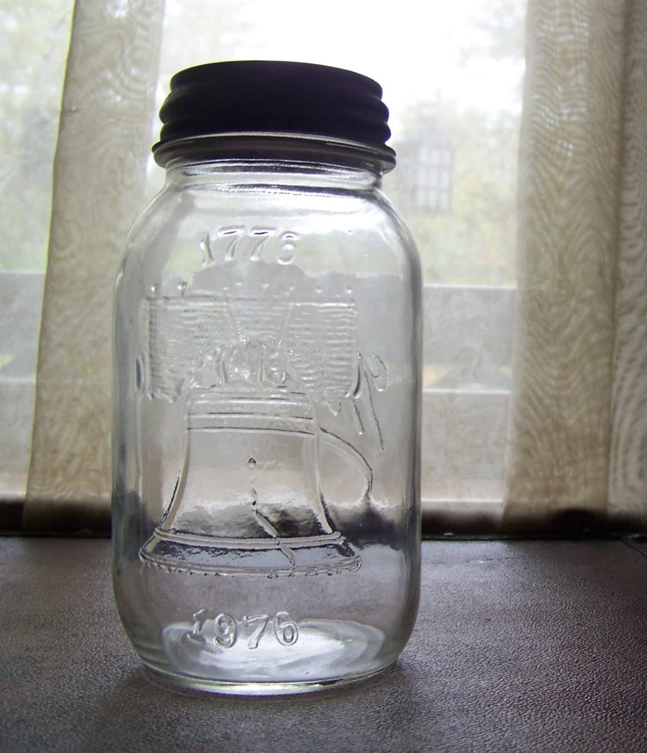 vintage BALL canning jar -- mason jar -- from 1976 --  with milk glass lined zinc lid