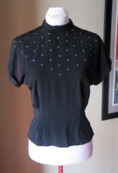Vintage 1940s Crepe De Chine Blouse with Rhinestones