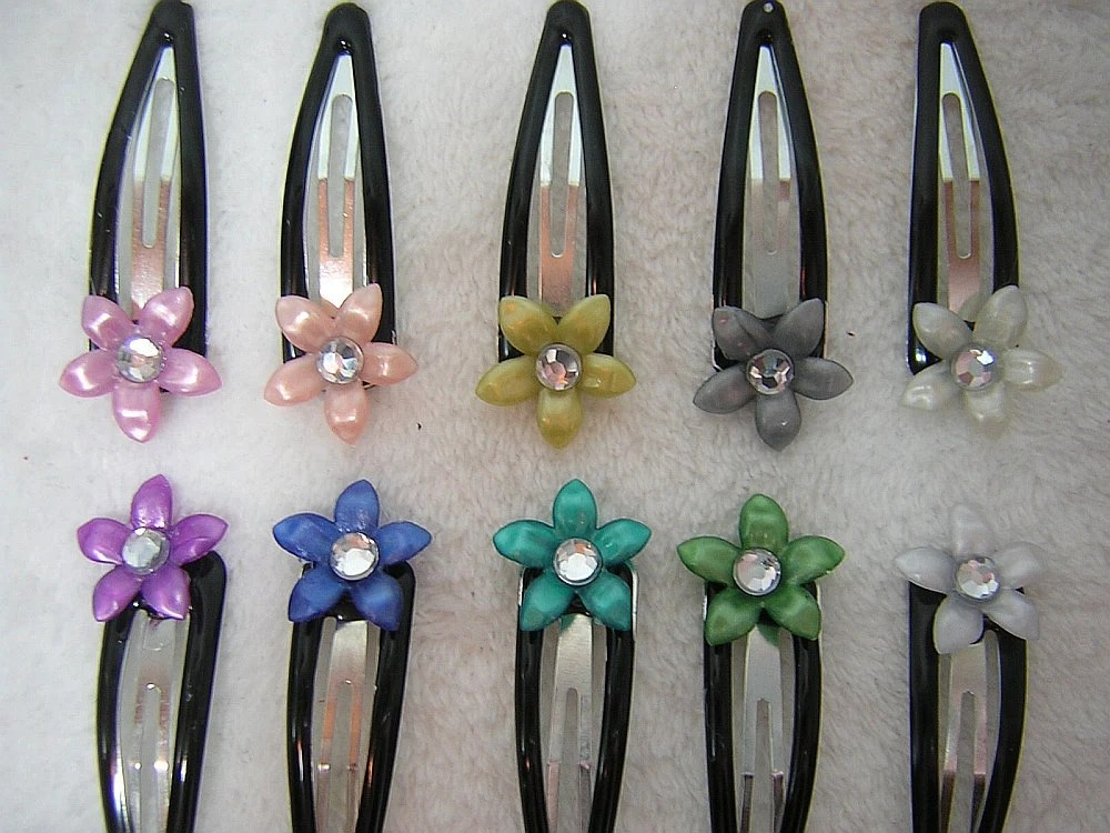 Color Choices for Five Petal Flower with Clear Gem Center Snap Barrettes by Rewondered D202B-00003