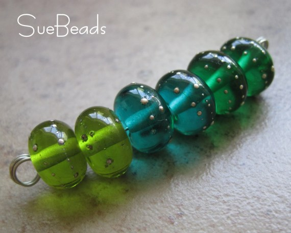 Lampwork Beads - SueBeads - Sparkle Mini Beads - Green Mix Sparkle Mini Set of 6 Unetched - Handmade Lampwork Beads - SRA M67