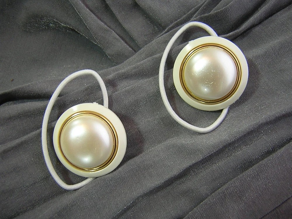 White and Gold Big Round Button Hair Elastics Ponytail Holders by Rewondered D202E-00006