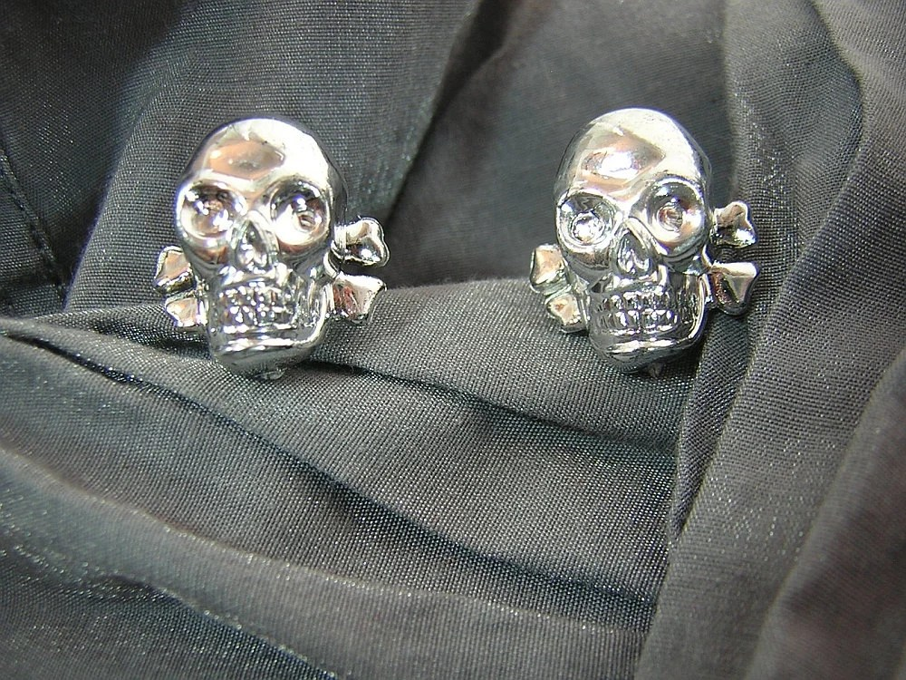 Silver Skull Post Back Earrings by Rewondered D225E-55504 - $8.95