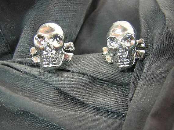 Silver Skull Post Back Earrings - Handmade by Rewondered D225E-55504 - $8.95