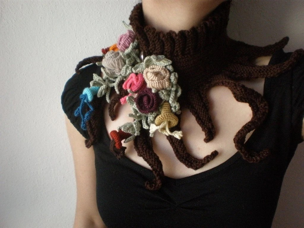 Elan - Spring Bloom ... Knitted Neckwarmer / Scarflette - Chocolate Brown - Colorful Flowers