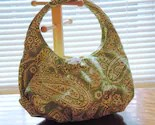 Handmade bag in off-white and green paisley
