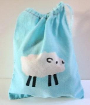FREE SHIPPING batik SHEEP mini project or notion drawstring bag NO TEXT