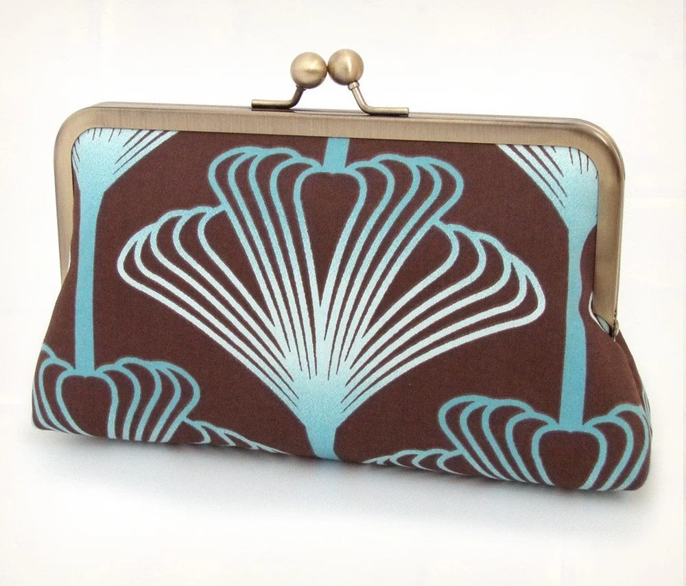 Teal plume silk-lined clutch bag