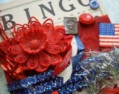 Vintage Patriotic July 4th Inspiration Craft Kit Dennison Seals   Bell Pin Trims
