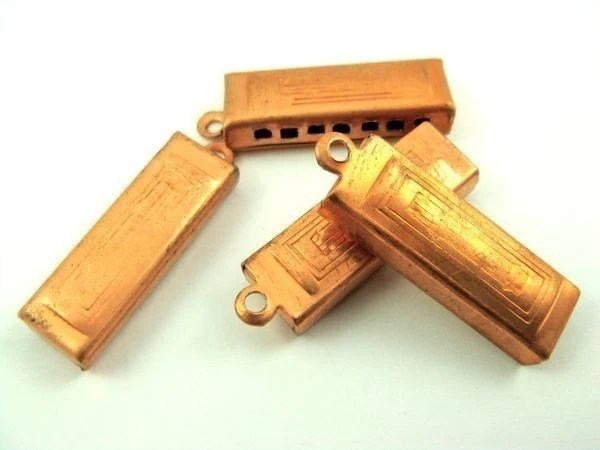 4 Vintage Copper Harmonica Charms
