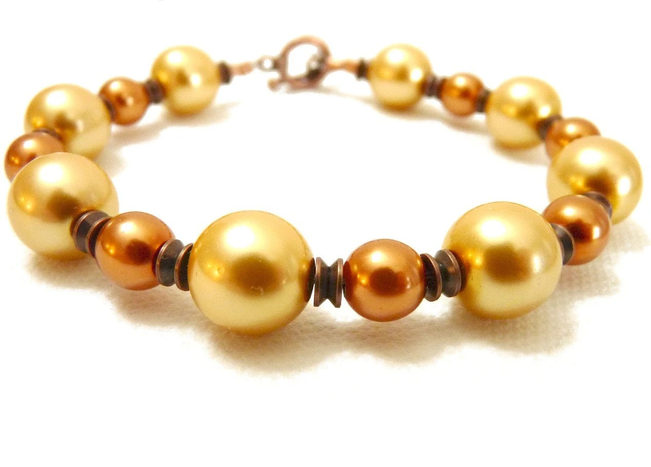 Warmth - Golden Copper Pearl Bracelet