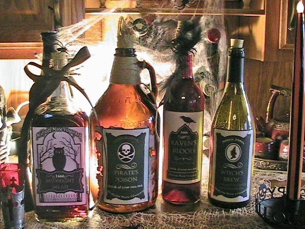 Set of 4 Spook'alicious Fun Halloween Bottle Labels Self adhesive Witchs Brew Pirate Poison Ravens Blood Midnight Mead YOU PICK color