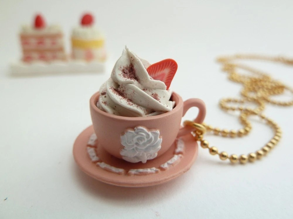 cup of coffee necklace Pendant alice in wonderland miniature Wedgwood cup antique pink Charm cup of coffee and saucer with whipped cream and strawberry polymer clay gold ball chain necklace white frosting tea party unique gifts birthday girls