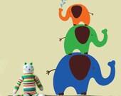 ELEPHANTS Childrens  Vinyl WALL DECAL Art Children Boy Girl Kids Nursery Sticker Room Decor Elephant Zoo