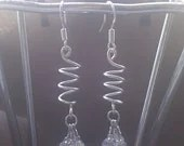 Clear Swarovski Crystal beaded Spiral spring coil dangle earrings