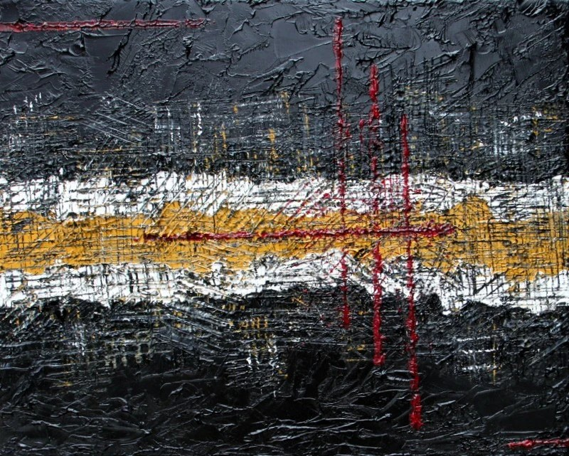 Frayed Lines 16x20 Texture Abstract Original Oil Painting by Nan